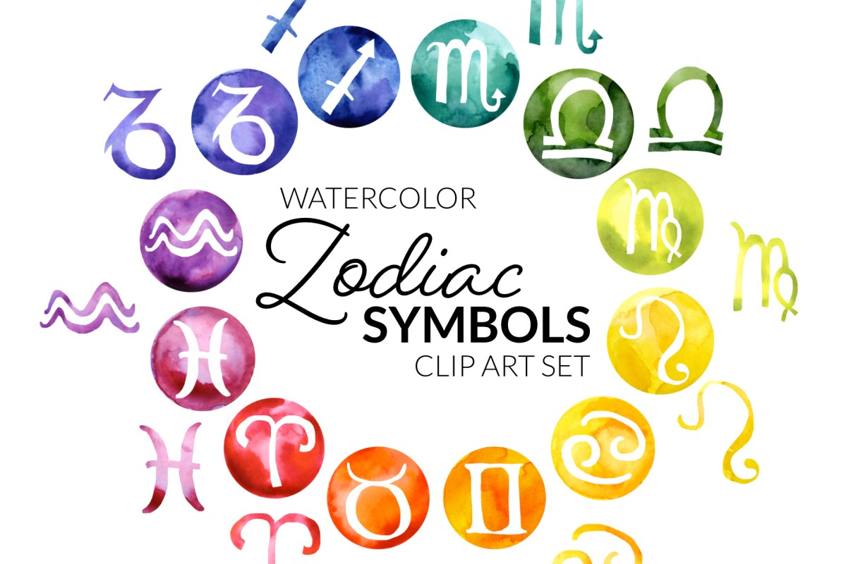 Zodiac Symbols Clipart, watercolor circle zodiac