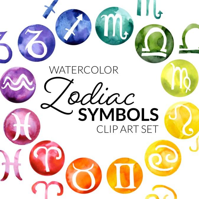 Zodiac Symbols Clipart, watercolor circle zodiac