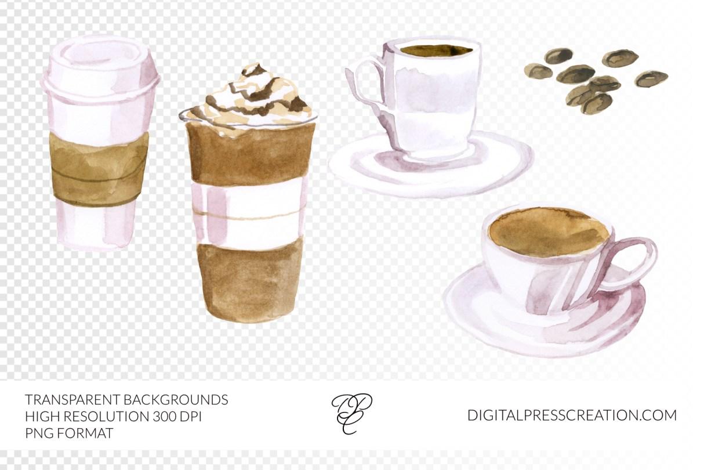 Watercolor Coffee shop, clipart, digital watercolor artwork, digital coffee, late, mocha, americano clipart