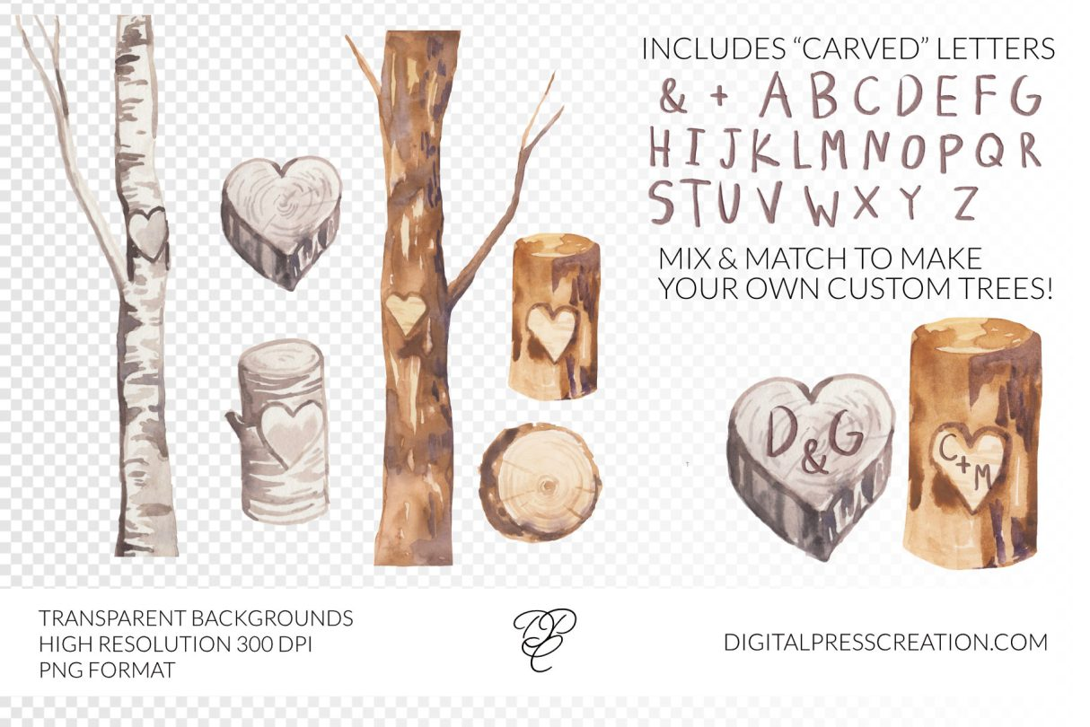 Watercolor heart trees transparent background clipart digital press creation
