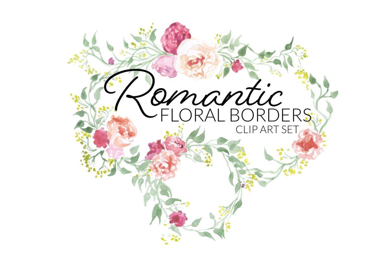 Romantic floral borders clip art digital pink rose flowers green laurels round labels edges clipart