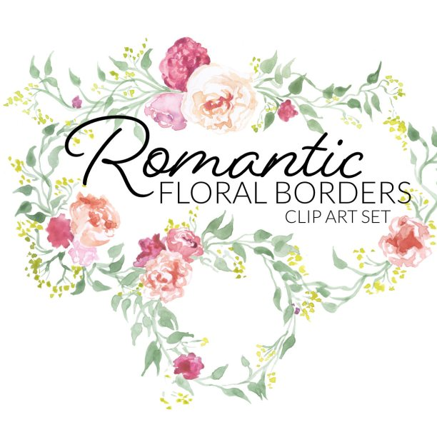 Romantic floral borders clip art digital pink rose flowers green laurels round labels edges clipart