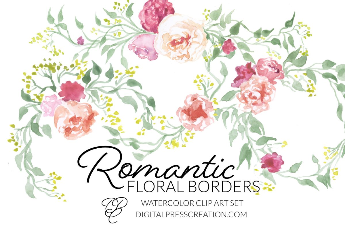 Romantic floral borders clipart, digital graphics of romance pink flowers green laurels wedding clipart
