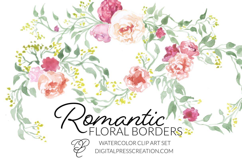 Romantic floral borders clipart, digital graphics of romance pink flowers green laurels wedding clipart