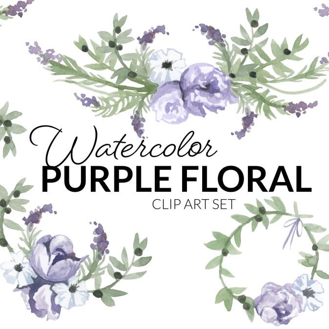 Watercolor Purple Floral Clipart
