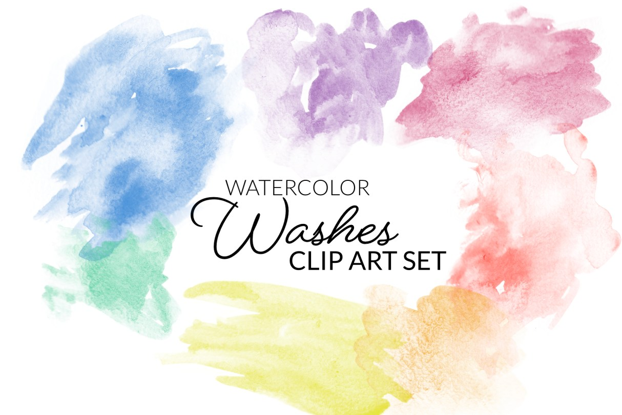 Watercolor Abstract washes clipart png transparent clip art rainbow images