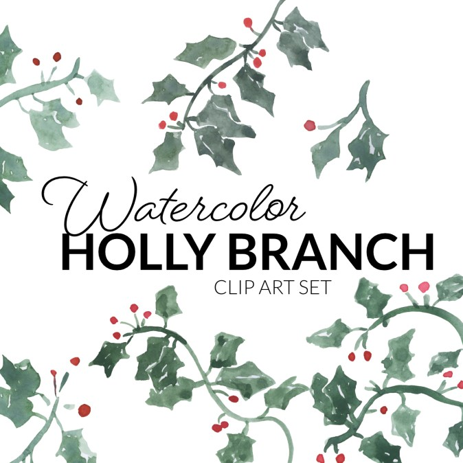 Watercolor Holly Branches Clipart Christmas floral artwork illustration
