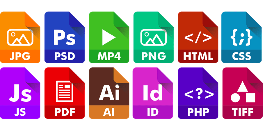 An image showing different file extensions or formats including PNG and CSS
