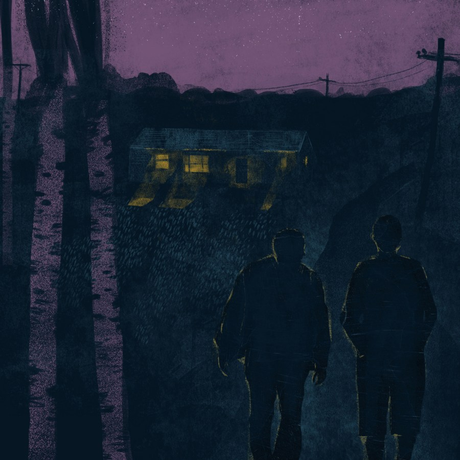 Illustration of two shadowy figures walking away from a countryside home at night.