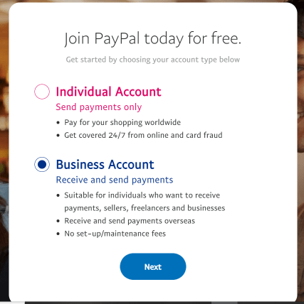 PayPal Individual & Business Account