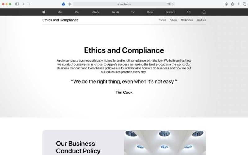 """Apple adlı yeni bir web sayfası başlattı """"Etik ve Uyum"""" davranış politikaları hakkında"""