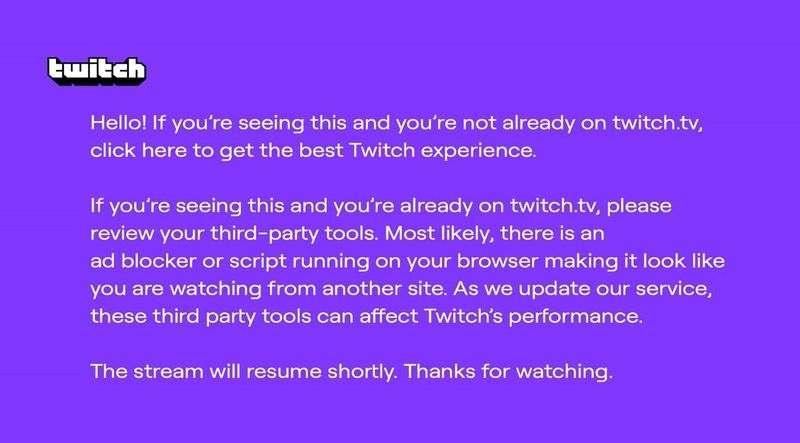 Twitch, AdBlock kullanıcılarına mor bir uyarı ekranı gösteriyor