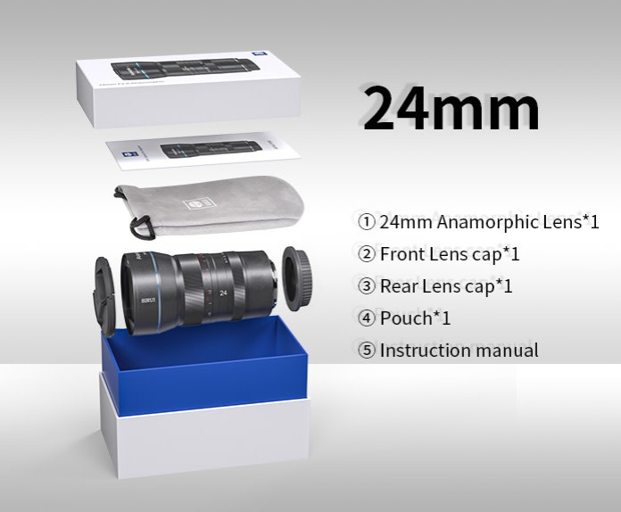 Contenido caja Sirui 24mm f2.8