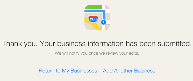 Apple Maps Information Submitted