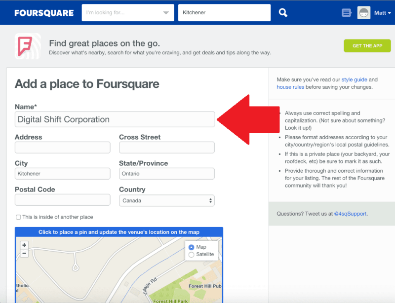 Add Business Location to Foursquare