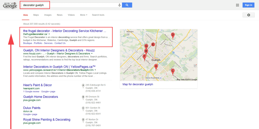 local seo case study guelph ontario