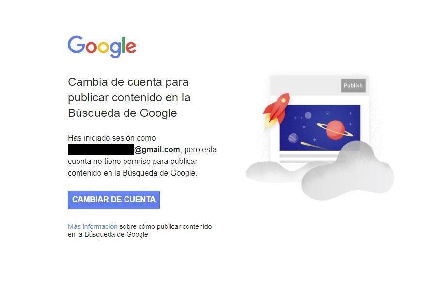Verificar tu identidad en Google. No autorizado para publicar