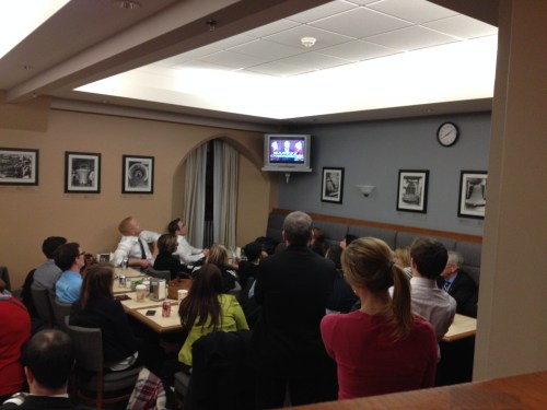Watching Prime Minister Harper address the nation, evening of Oct. 22, 2014 from inside the cafeteria.
