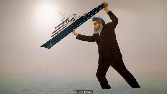 Jeremy Deller's installation at the Venice biennale depicts William Morris throwing a superyacht into the lagoon