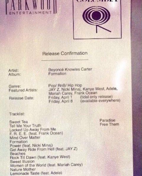 Beyoncé's 'leaked' tracklist