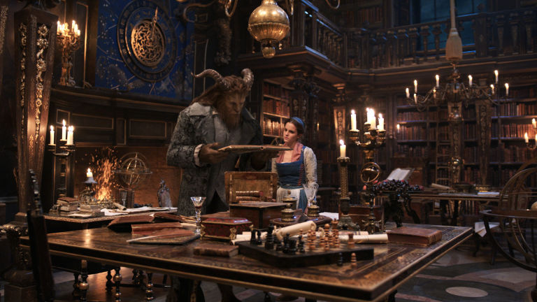 Dan Stevens as Beast, Emma Watson as Belle, Beauty and the Beast