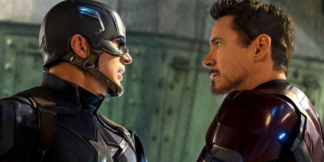 Chris Evans and Robert Downey Jr as Captain America and Iron Man in Captain America: Civil War Avengers