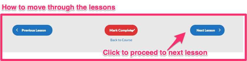 A diagram highlighting showing the way a user can proceed to the next lesson in this course.