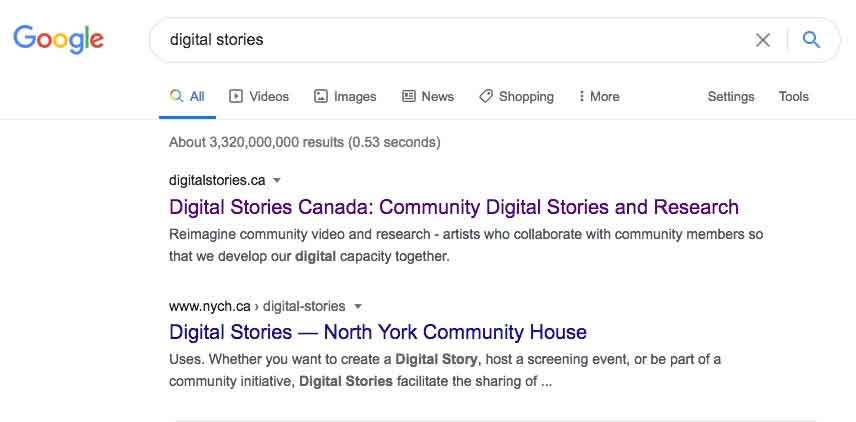 "Illustrating the search term ""digital stories"" and top results for Digital Stories Canada."