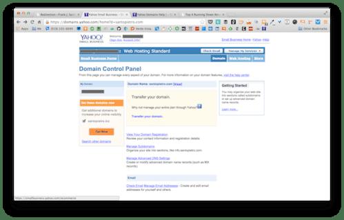 Yahoo! Domain Control Panel screenshot