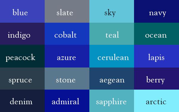 Color Thesurus: Blues