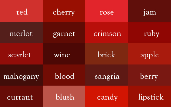 Its Wine Not Dark Red Here Are The Correct Names Of All Color Shades
