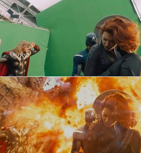 Avengers: Before and after green screen + CGI (1)