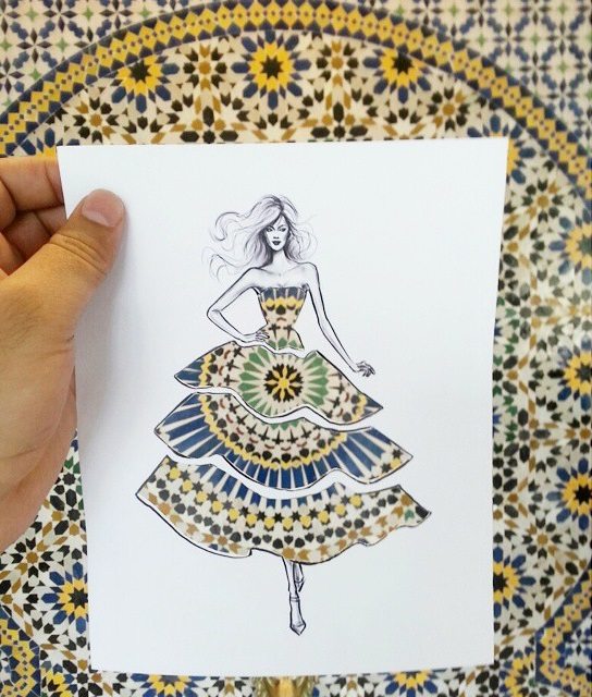 Fashion Cut-Out Sketches Completed Using Skies And Sceneries - 3