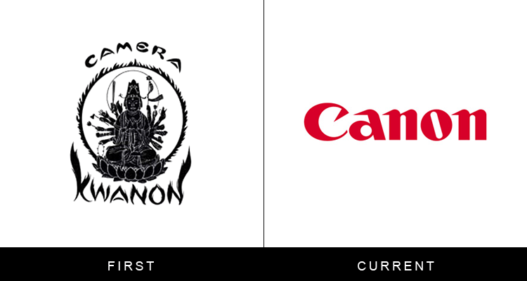 Original famous brand logos and now - Canon