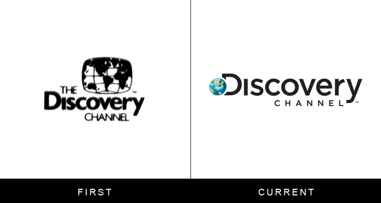 Original famous brand logos and now - Discovery