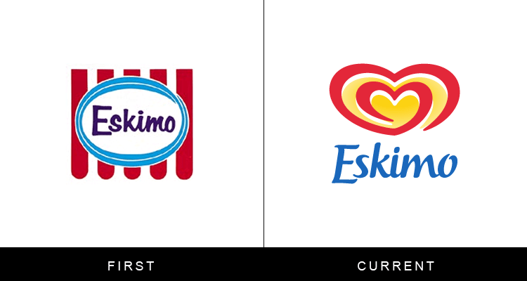 Original famous brand logos and now - Eskimo