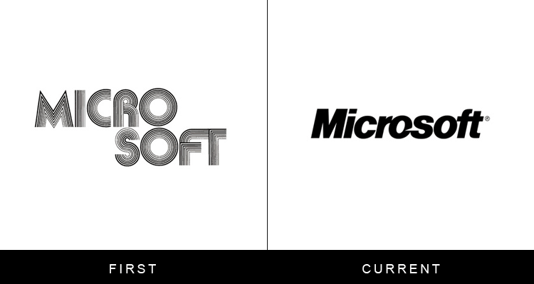 Original famous brand logos and now - Microsoft