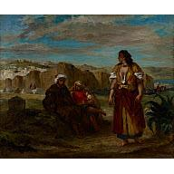 Eugene Delacroix View Of Tangier with Figures