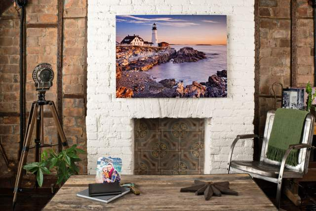 Looking at a metal print made by AdoramaPix on the wall above the fireplace