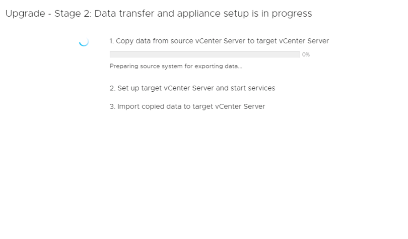 Machine generated alternative text: Upgrade  Stage 2: Data transfer and appliance setup is in progress  1. Copy data trom source vCenter Server to target vCenter Server  Preparing source system for exporting dete._.  2. Set up target vCenter Server and start services  3. Import copied data to target vCenter Server