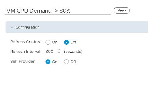 Machine generated alternative text: VM CPU Demand  800/0  0 011  (seconds)  Configur ation  Refresh Content  Refresh Interval  Self Provider  O  300  On