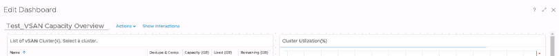 Machine generated alternative text: Edit Dashboard  Test_VSAN Capacity Overview  List of vSAN Cluster(s). Select a cluster.  Actions v  Show Interactions  & Comp.  Capacity (G3)  Used (GB)  Cluster  Remaining (GB)