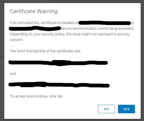 Machine generated alternative text: Certificate Warning  If an untrusted SSL certificate is installed on dalprdesxvic02.freemanco.com or  dalprdesxvicol.freemanco_com, secure communication cannot be guaranteed.  Depending on your security policy, this issue might not represent a security  concern.  The SHAI thumbprints of the certificates are:  and  To accept and continue, click Yes  YES