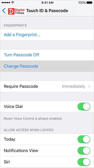 Set up a passcode in iPhone