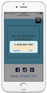 Eastern Shore Design & Construction website on mobile phone