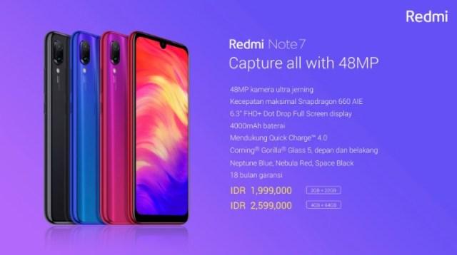 harga Redmi Note 7 di Indonesia