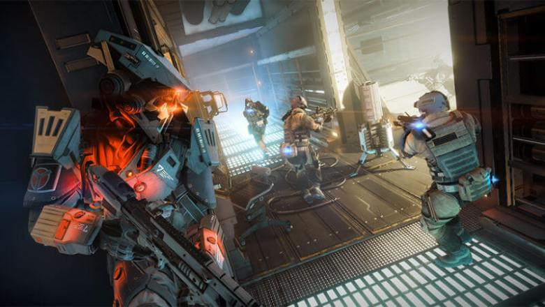 Hallway combat in Killzone Shadow Fall