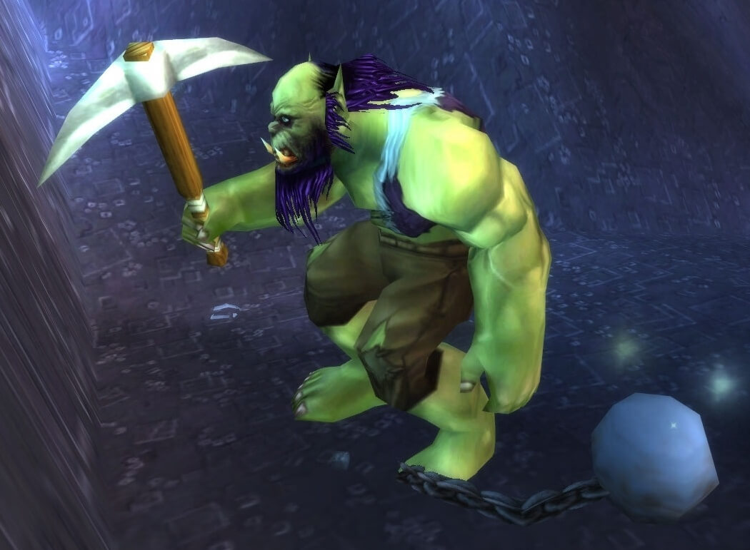 An Orc slave miner in World of Warcraft