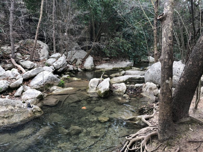 A river in River Place Nature Trail in Austin, Texas