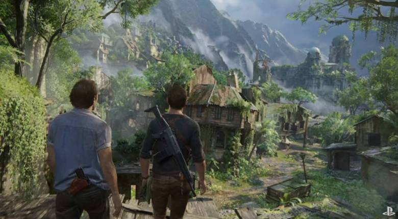 Overlooking a forest in Uncharted 4